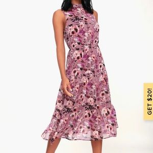 Lulus In My Dreams Mauve Floral Print Midi Dress